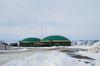 Biogasanlage im Schnee.